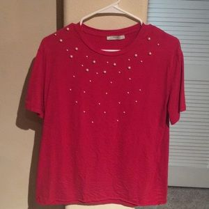 Zara Red Shirt with pearls.